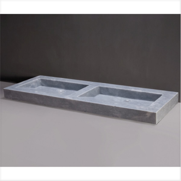Waschbecken Naturstein PALERMO DOPPIO (140,5 cm) Marmor, mit 2 Hahnlöchern, 100206, 11192145