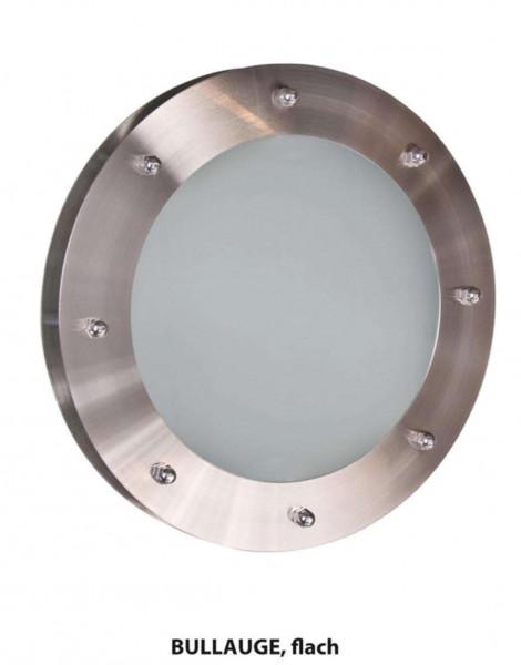 Bullauge ø 350 mm Milchglas Edelstahl, flach, BP35, für Türblatt ab 18 mm, 34556145