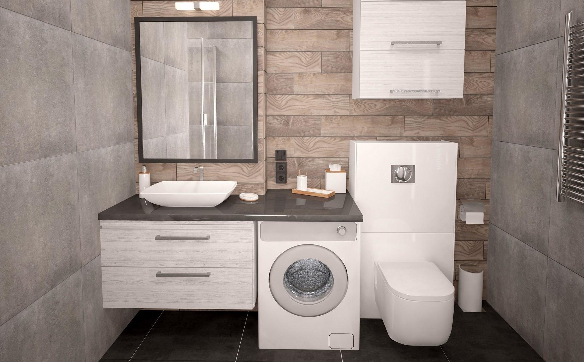 Ein Hängeschrank oberhalb der Toilette schafft zusätzlichen Stauraum