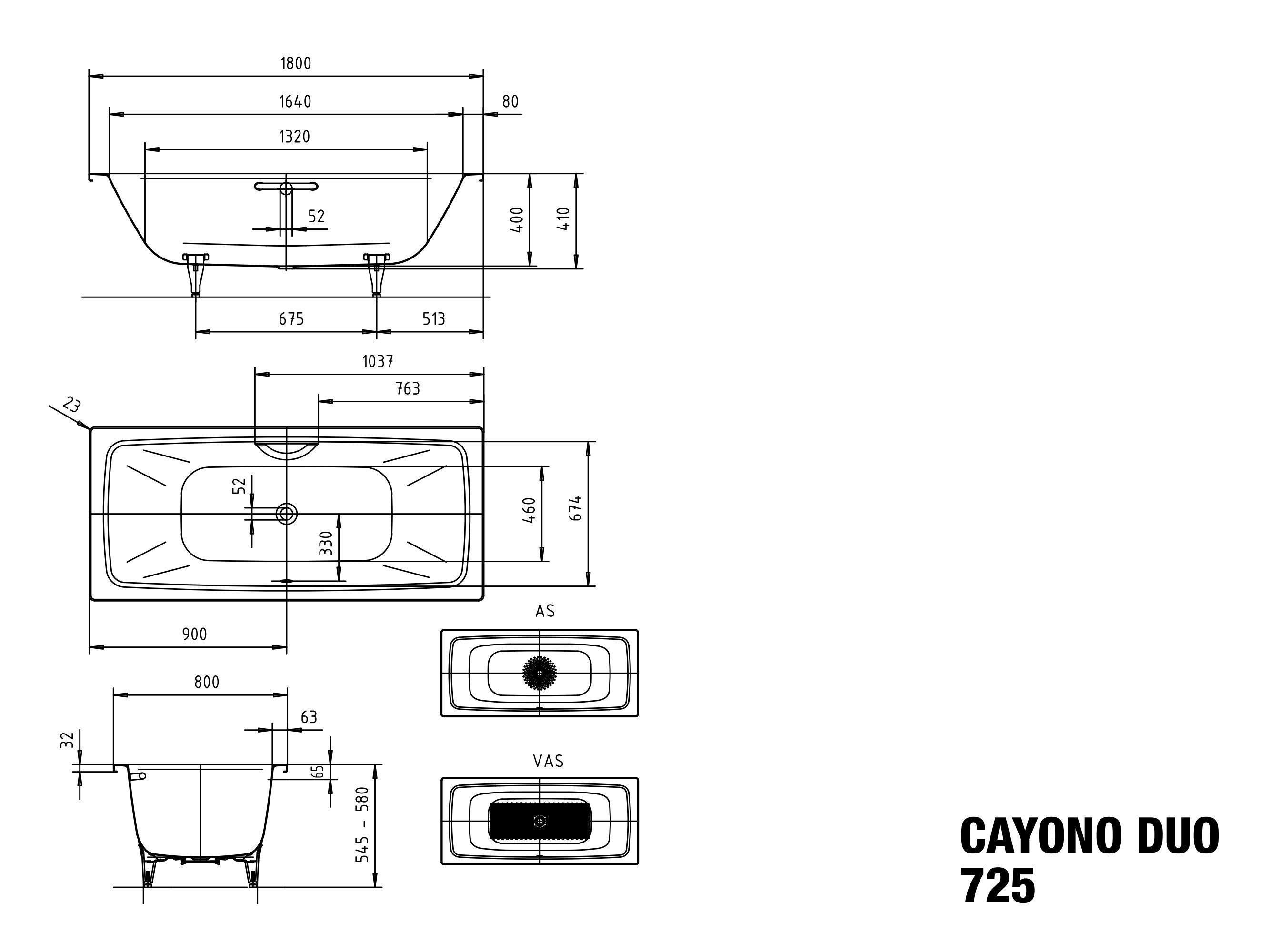 Kaldewei Badewanne Cayono Duo 20,20x20x20